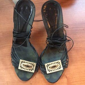 BCBG black wrap sandals